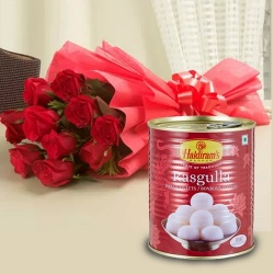 Send 1 Kg. Rasgulla with 12 Red Roses       to india.