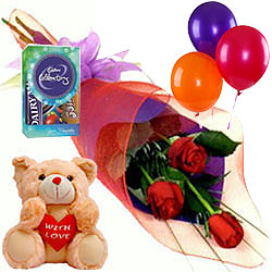 Teddy with Balloons, Roses N Chocolates