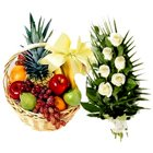 Bright Premier Selection Fruits Basket N Roses Bundle