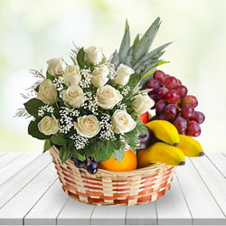Aromatic White Roses N Fruits Basket