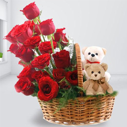 Designer Red Roses Arrangement with Teddy Couple