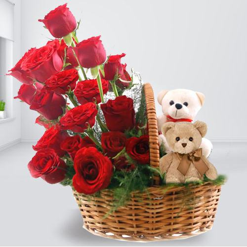 Dual Teddies N Red Roses Basket Arrangement