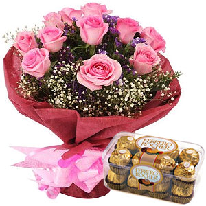 Ferrero Rocher Chocolates N Pink Roses Bunch