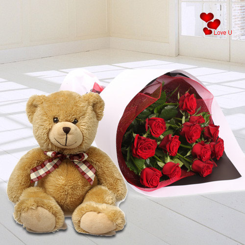 Lovable Teddy and Fresh Red Roses Bouquet