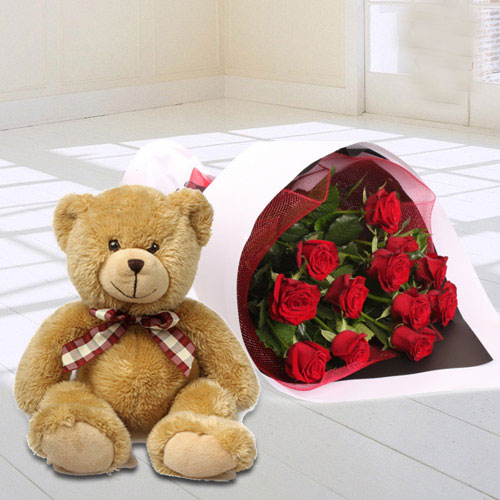 Red Roses Bunch with Teddy