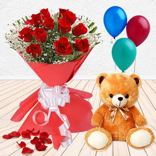 Red Roses with Balloons N Teddy