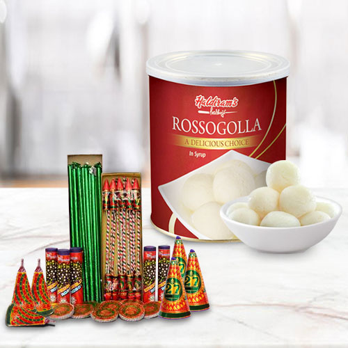 Breathtaking Combo of Haldiram Rasgulla and Crackers
