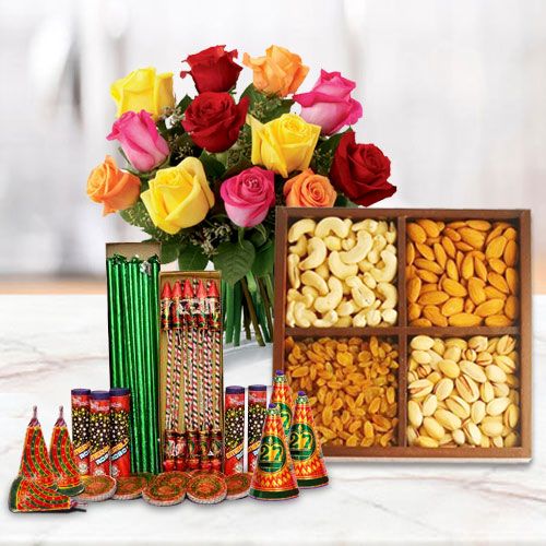 Prodigious Hamper of Dry Fruits, 12 Pcs Mixed Roses and Crackers