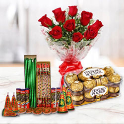 Astounding Combo of 16 Pcs Ferrero Rocher Chocolates, 10 Pcs Red Rose Bunch and Crackers