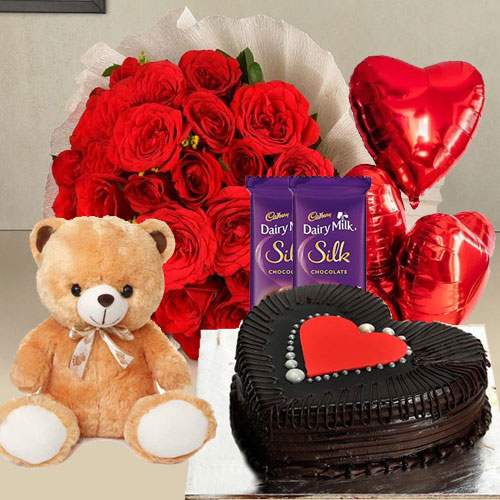 Cake with Balloons, Red Roses, Teddy N Chocolates
