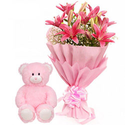 Teddy N Pink Lilies Bouquet