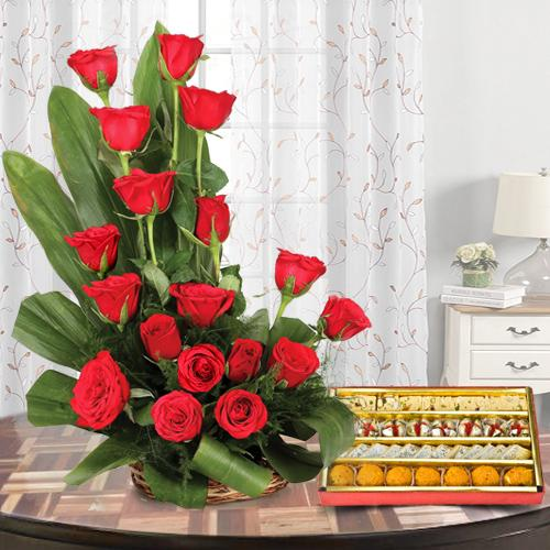 Haldirams Assorted Sweets N Red Roses Arrangement