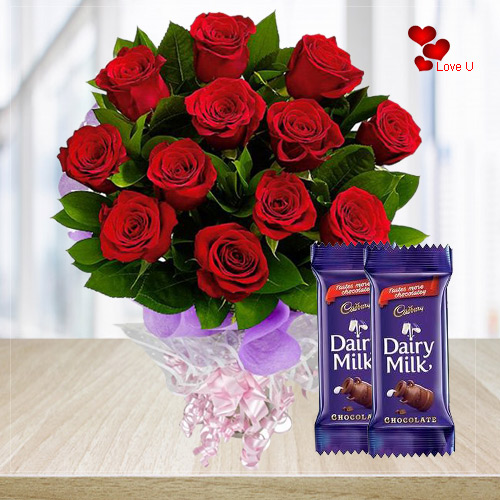Sundry Love Red Rose Bouquet with Dairy Milk Chocolates