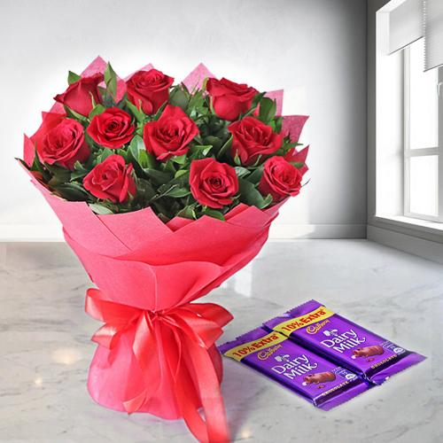 Dairy Milk Chocolates N Red Rose Bouquet