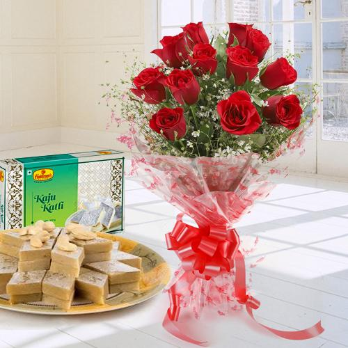 Kaju Katli with Red Rose Bouquet