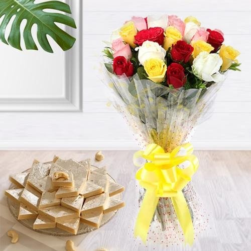 Marvellous 24 Pcs. various Roses with delicious Kaju Barfi gift pack