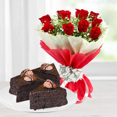 Enticing Roses and Chocolate Christmas Hamper