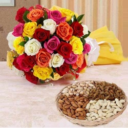 Send 1 Kg. Assorted Dry Fruits with Bouquet of 24 Mixed Colour Roses to India.
