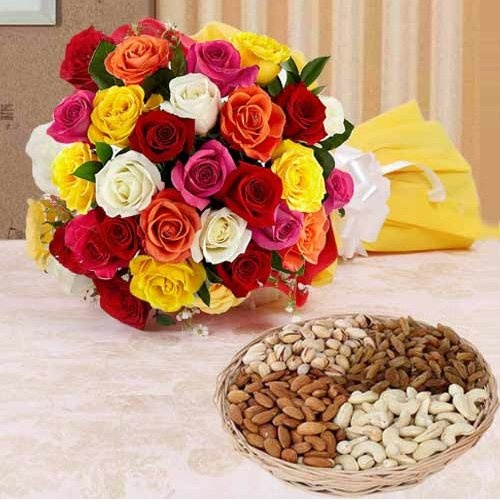 A perfect combo of dry fruits with colourful roses