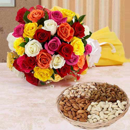 Colorful Roses N Mixed Dry Fruits Combo