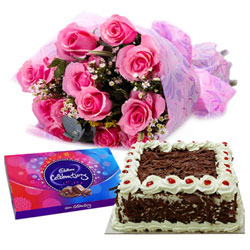 Send Sweetness of Fresh-Baked Cakes with Cadbury Celebration and Pink Rose Arrangement
