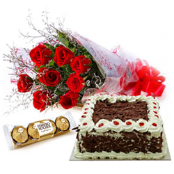 Ultimate Gift of Cake, Red Rose Bouquet and Ferrero Roacher Chocolates