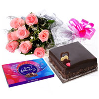 Classic Gift of Pink Roses Bouquet with Flavored Cake and Cadbury Celebration