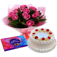Bountiful Celebration Chocolate Gift and Cake with Pink Rose Arrangement