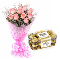 Graceful Pink Roses with Ferrero Rocher Chocolates Combo