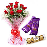 Special Gift of Red Rose Bouquet with Dairy Milk Silk and Ferrero Roacher Chocolates