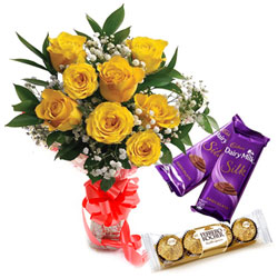 Blooming Yellow Rose Bouquet with Ferrero Rocher and Dairy Milk Silk