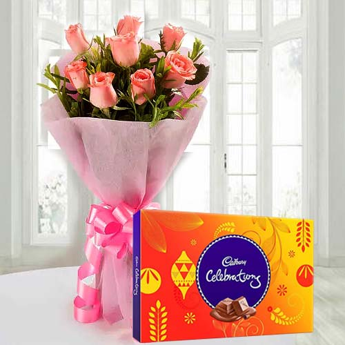 Enchanting Pink Roses Bouquet and Cadbury Celebration