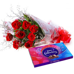Breathtaking Red Rose Bouquet and Cadbury Celebration Combo