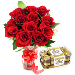 Beautiful Red Rose Bouquet and Classic Ferrero Rocher Chocolates