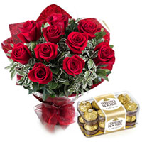 Charming Red Roses Bouquet and Ferrero Rocher Chocolates