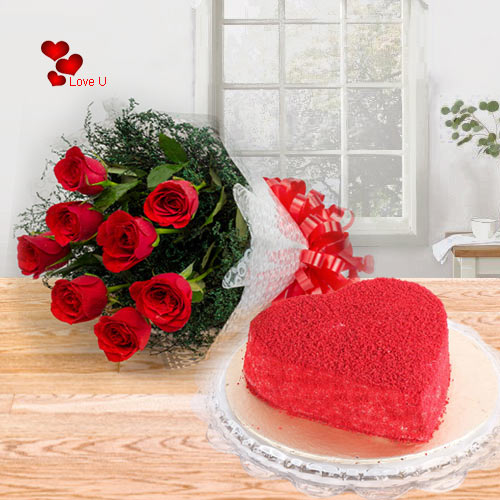Bouquet of Red Roses with Heart Shape Red Velvet Cake