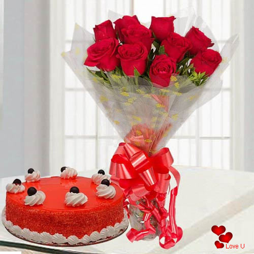 Valentines Day Charm Red Roses Bouquet with Red Velvet Cake