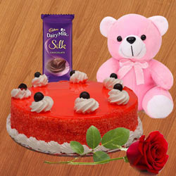 Order Red Velvet Cake with Teddy, Red Rose N Dairy Milk Silk