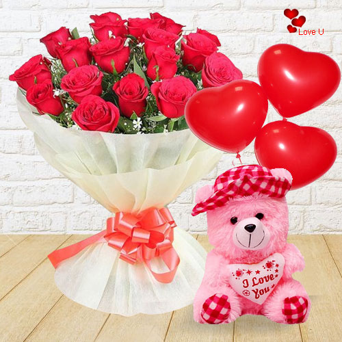 Attractive Teddy with Balloons and Red Rose Bouquet