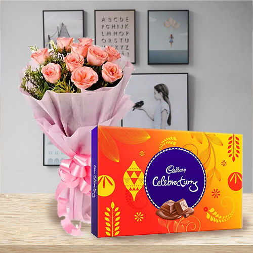 Blushing Pink Rose and Cadbury Celebration Chocolate