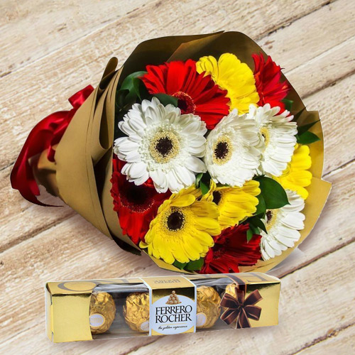 Glamorous Happy Birthday  Gerbera Bouquet with Ferrero Rocher