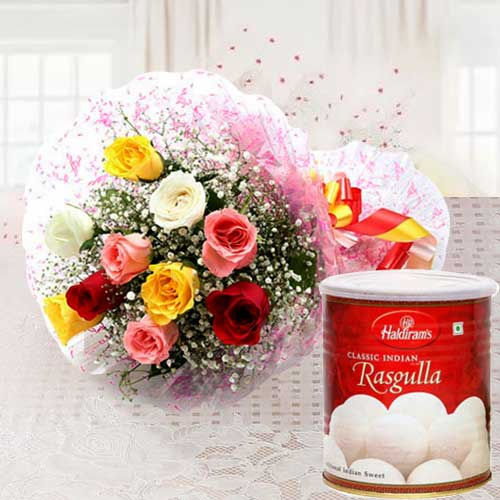 B Day Magic of Mixed Roses and Haldiram Rasgulla