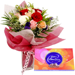 B Day Wishes Combo of Mixed Flower and Cadbury Celebration