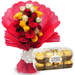 Birthday Special Combo of Mixed Roses and Ferrero Rocher