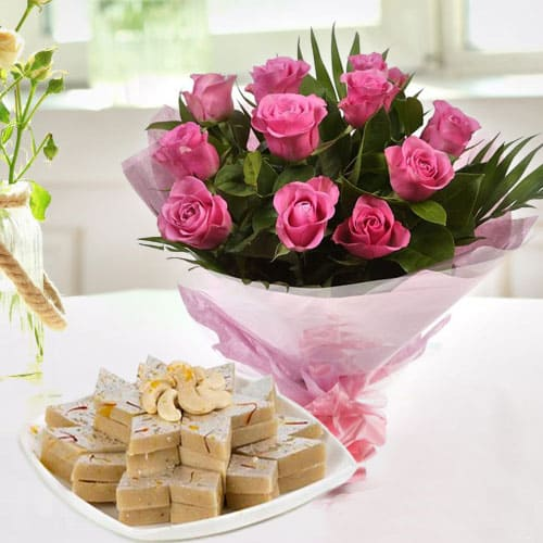 Birth-Day Sweet Combo of Kaju Katli N Pink Roses