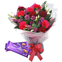 Deliver Online Mixed Flower Bouquet with Cadbury Celebration Chocolate