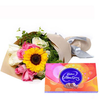 Online Mixed Flower Bouquet and Cadbury Celebration Chocolate
