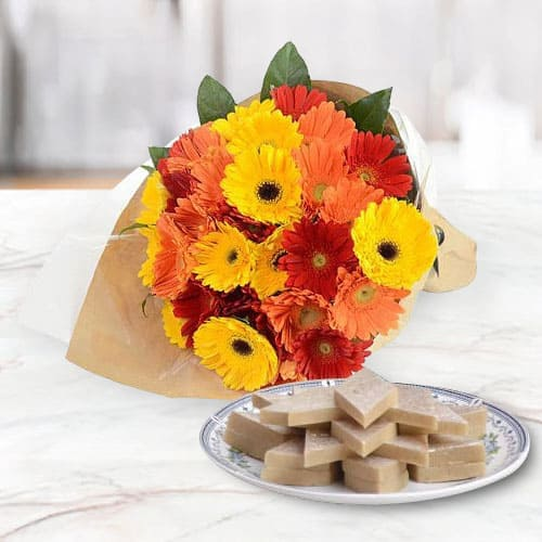 B Day Hand- Arranged Mixed Gerberas and Kaju Katli