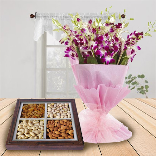 Stylish Orchids Bouquet with Healthy Dry Fruits for Birth-Day
