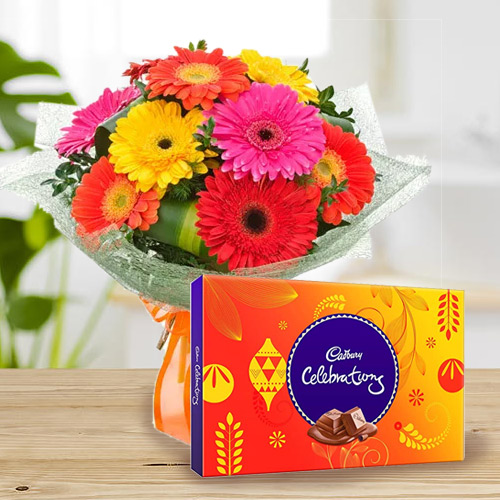 B Day Lovingly Made Combo of Cadbury Celebration and Mixed Gerbera Bouquet